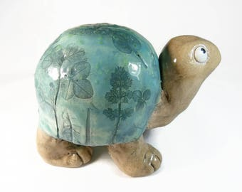 Ceramic turtle with herbs