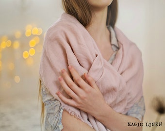 Pink linen scarf. Softened linen scarf. Stonewashed, extra soft. Pale pink linen shawl. Linen scarves for women. Linen fashion. Pink scarf