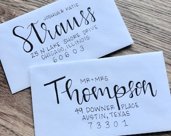 Wedding Envelope Invitations - Modern Calligraphy - Hand Lettering - CHICAGO FONT