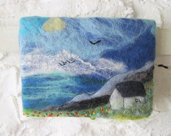 wet felted wall art, felt picture, house by the ocean
