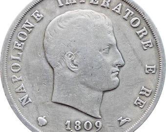 1809 5 Lire Italy Kingdom Napoleon Bonaparte Silver Coin