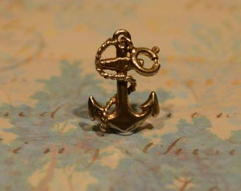 Vintage Sterling Silver Anchor & Rope Charm Nautical Sailor Travel Charm
