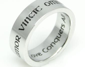 Amor Vincit Omnia Love Conquers All Stainless Steel Poesy Ring