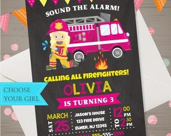 Girls Firefighter Invitation Fireman Birthday Invitation Firewoman Invite Pink Firetruck Birthday Invitation Firefighter Party Chalkboard