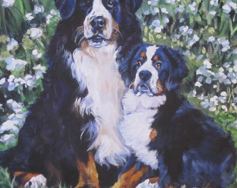 Bernese Mountain Dog art portrait CANVAS print of LA Shepard painting12x12