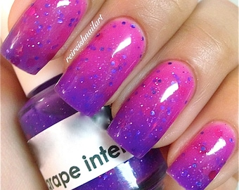 Grape Intentions--Color Changing Thermal Nail Polish:  Custom-Blended Indie Glitter Nail Polish / Lacquer