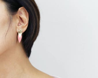 Kalypso leather earrings pink Petal and gold