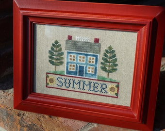 Finished Framed Cross Stitch, Summer House, Trees and Sunflowers, Dark Red Wood Frame, Framed Cross Stitch, Finished Cross Stitch, Summer