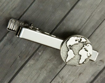 Globe Tie Clip – Globe Tie Bar - Mens Accessories - Mens Jewelry - Christmas - Gift for Men - Groomsmen Gift - Gifts for Dad - Wanderlust