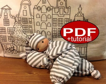 waldorf doll pattern baby doll butterfly newborn first doll sewing pattern gift tutorial DIY making doll cloth comforter doll soft plush