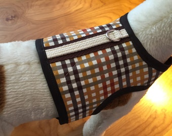 Small Dog Harness, cotton Fall plaid, dog harness, Made  in USA, dog harnesses, pet clothing