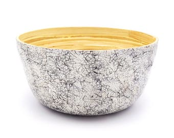 Bamboo bowl with eggshells