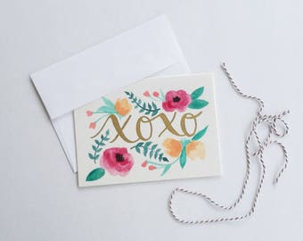 X's & O's Hugs and Kisses Valentine's Day Card for Boyfriend or Girlfriend Watercolor Handpainted Floral Design