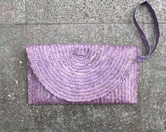 Purple clutch bag mauve clutch bag small clutch bag handmade clutch bag woven from palm leaf 27cm x16cm. Lined with zip pocket