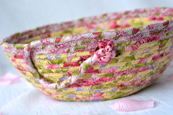 English Garden Basket, Handmade Spring Bowl, Floral Bath Basket, Makeup Organizer, Shabby Chic Home Decor, Pink coiled fabric basket