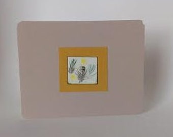 Feathered Card in Striped Browns, Yellows & Blues