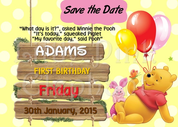 Winnie the pooh invitation party printable save the date filmwisefo