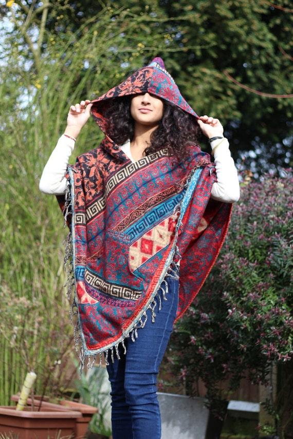 Poncho, festival, hippy, boho, bohemian, handmade, cozy, Mexican, tribal, pixie, gypsy, beautiful and warm