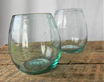 2 Hand Blown Glass Vessels / Vases - Solid Chunky Glass
