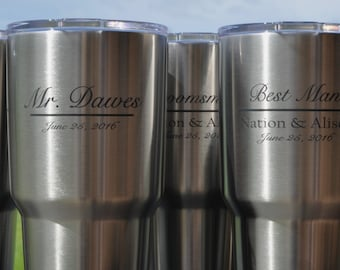 Laser Engraved RTIC Cup, 30 ounce insulated, stainless steeel, with lid, better than YETI, for groomsman, bridesmaids by jackglass on etsy