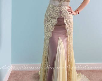 Beautiful One Piece Floor Length Sheath in Gold Lace ideal for Prom Mother of the Bride or Second Wedding Dress