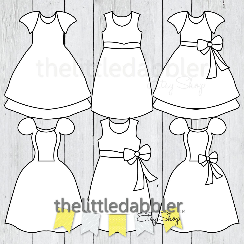 Dress Clipart Templates Baby Shower Princess Birthday Dress