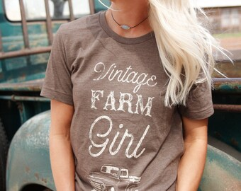 Brown Exclusive Vintage Farm Girl T shirt, T shirt women, T shirt vintage, T shirt with saying, T shirt gift, gift for her, T shirt