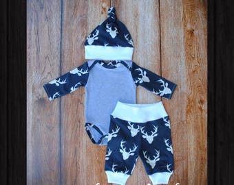 Onesie, Pants, and Hat Set - Newborn Size - Ready to Ship - Baby Shower Gift - Deer Print Soft Fabric