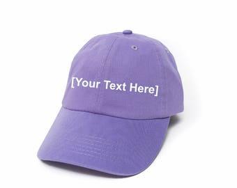 Custom Dad Hat, Custom Baseball Caps, Dad Hat Custom, Embroidered Baseball Cap, Adjustable Strap Back Baseball Cap, Low Profile, Lavender