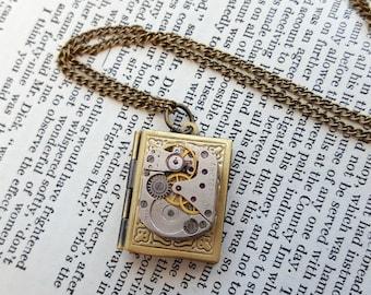 Steampunk necklace watch movement, brass locket, vintage mechanism, bronze chain