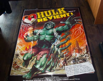 BRIDE of the INCREDIBLE HULK (1978) Lou Ferrigno Very Rare 4 x 6 ft french Grande Fold Giant Movie Poster Original Vintage Collectible