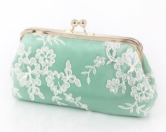 Alencon Lace Bridal Bridesmaids Clutch in Mint Green | Bridesmaids Gift | Wedding Gift