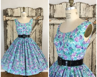 Vintage 1960s Blue Purple and Green Floral Print Full Dress Large 28 1/2 Waist