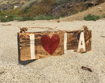 I Heart L.A. Wood Sign I Love L.A. Sign Los Angeles Sign California Sign California Love Sign Beach Wood Sign Bohemian Decor Hippie Decor