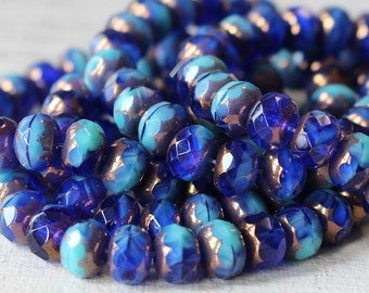 5x7mm Rondelle Beads - Czech Glass Beads - Jewelry Making Supply - 7x5mm Faceted Rondelle Beads - Aqua Cobalt Bronze  - 10 or 25 Beads
