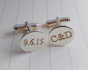 Wedding Cufflinks,Personalised Wedding Cufflinks,Groom Cufflinks,Personalized Date And Initial Cufflinks,Groom Gift from Bride