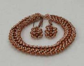 Beadwoven Coppery Bracelet and Earring Set