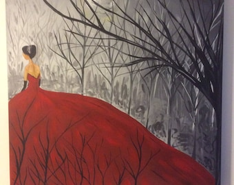 Angela Lady in Red Acrylic Painting