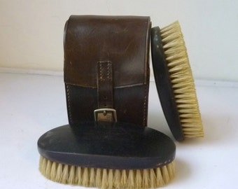 Wooden Clothes Brush in Leather Case Real ebony Antique Set