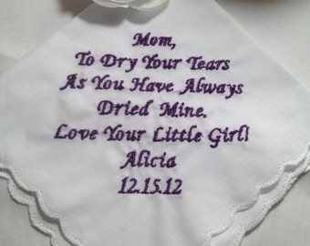 personalized Mother of the  Bride handkerchief hankie hanky