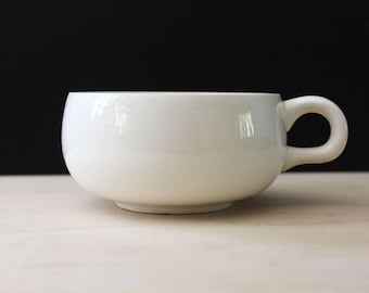 Russel Wright American Modern White flat cup, 1940s Steubenville pottery.