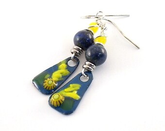 Handmade Earrings, Enameled Earrings, Blue With Yellow Flower Earrings, Silver, Artisan Earrings, Boho Earrings, Flower Earrings, AE164