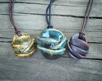 Essential Oil Diffuser Necklace / handmade pottery diffuser pendant / diffuser jewelry / aromatherapy / gifts for women / Mother's day gift