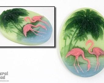 30mm x 40mm Vintage Lucite Flamingo Cabochon #5703