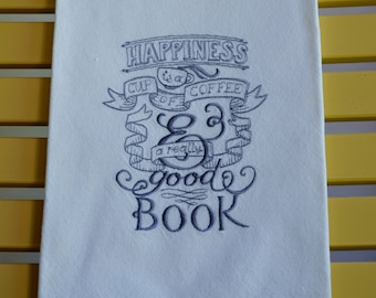 Embroidered Towel, Coffee and Books, Shipping Included!