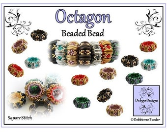 Beading Pattern, Tutorial, Beaded Bead - OCTAGON