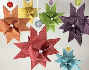 6 Rainbow German Froebel Star Ornaments with Hand-Folded Box - Swedish Star - Moravian Star - Origami