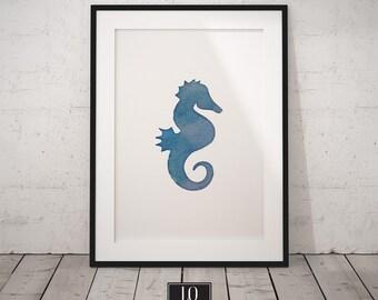 Seahorse Print, Blue Wall Decor, Watercolor Seahorse, Digital Download