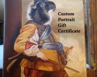 Gift Certificate for Oil On Canvas Pet Painting, Custom Original Oil Painting, Custom Pet Portrait