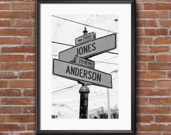 Personalized Intersection Street Sign Print - Custom DIGITAL DOWNLOAD PRINT - 8x10 or 11x14 - Customized Road Sign - Life Intersects